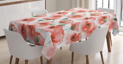 Gelincik Çiçeği Desenli Çeyizlik Masa Örtüsü Pembe