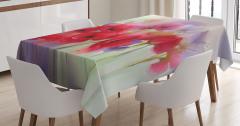 Pembe Gelincik Desenli Masa Örtüsü Çeyizlik Çiçek