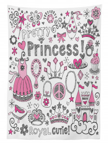 Masal Temalı Masa Örtüsü Çocuk İçin Pembe Prenses