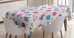 Kızlar İçin Masa Örtüsü Pembe Mavi Kelebek Kedi