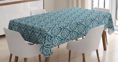 Mavi Çiçek Desenli Masa Örtüsü Şık Tasarım Trend