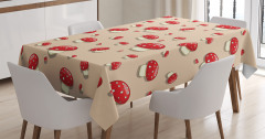 Kırmızı Şapkalı Mantar Desenli Masa Örtüsü Pembe