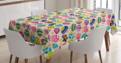 Rengarenk Mantarlar Desenli Masa Örtüsü Çocuk İçin