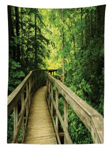 Ormandaki Ahşap Yol Temalı Masa Örtüsü Yeşil Doğa