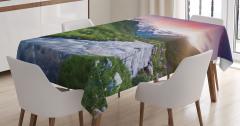 Nehir ve Karlı Dağlar Temalı Masa Örtüsü Gökyüzü