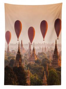 Tapınak ve Balon Temalı Masa Örtüsü Gökyüzü Turuncu