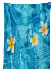 Sudaki Çiçek Temalı Masa Örtüsü Doğada Huzur Mavi