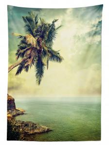 Ada ve Palmiye Manzaralı Masa Örtüsü Nostaljik Deniz