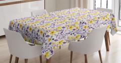 Sulu Boya Etkili Masa Örtüsü Çiçek Desenli Çeyizlik