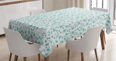 Mavi Çiçek Desenli Masa Örtüsü Çeyizlik Şık Tasarım