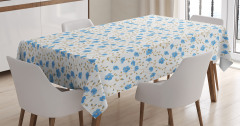 Mavi Çiçekli Masa Örtüsü Bahar Temalı Çeyizlik Şık