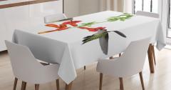 Kırmızı Çiçek ve Kuş Desenli Masa Örtüsü Çeyizlik