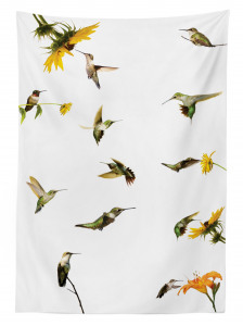 Kuş ve Çiçek Desenli Masa Örtüsü Yeşil Sarı Çeyizlik