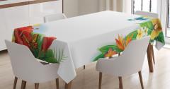 Rengarenk Çiçek ve Kuş Desenli Masa Örtüsü Bahar Şık
