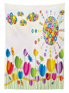 Rengarenk Laleler Desenli Masa Örtüsü Şık Tasarım
