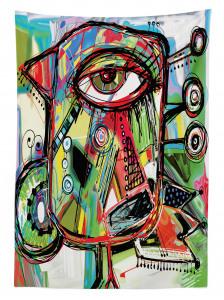 Sanat Eseri Temalı Masa Örtüsü Rengarenk Şık Tasarım