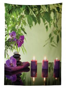 Zen Temalı Masa Örtüsü Mum Mor Orkide Sağlık Masaj