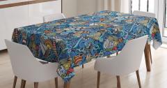 Rengarenk Marin Desenli Masa Örtüsü Şık Balık Deniz
