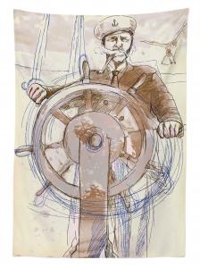 Denizci Temalı Masa Örtüsü Elle Çizim Şık Tasarım