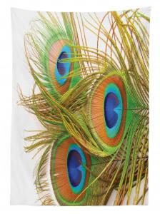 Tavus Kuşu Tüyü Desenli Masa Örtüsü Yeşil Mavi Şık