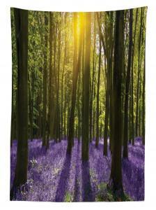 Güneş Orman ve Çiçek Temalı Masa Örtüsü Yeşil ve Mor