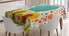 Rengarenk Fil ve Ağaç Temalı Masa Örtüsü Çocuklara