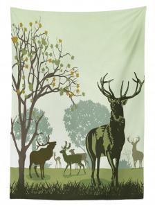Geyik Ağaç ve Sonbahar Desenli Masa Örtüsü Beyaz