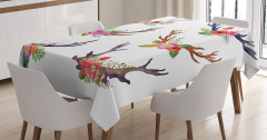 Rengarenk Çiçekli Boynuz Desenli Masa Örtüsü Beyaz