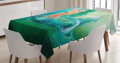 Yeşil Saçlı Deniz Kızı Temalı Masa Örtüsü Fantastik