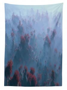 Sisli Orman Manzaralı Masa Örtüsü Ağaç Sonbahar