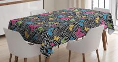 Zebra Desenli Masa Örtüsü Rengarenk Kelebekler