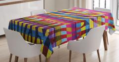Rengarenk Zebra Desenli Masa Örtüsü Ahşap Görünümlü