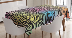 Rengarenk Zebra Desenli Masa Örtüsü Renk Geçişli