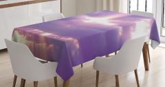 Büyüleyici Gökyüzü Manzaralı Masa Örtüsü Mor Beyaz