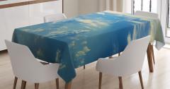 Büyüleyici Gökyüzü Temalı Masa Örtüsü Bulutlar Mavi