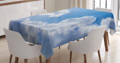 Büyüleyici Gökyüzü Temalı Masa Örtüsü Bulutlar Beyaz