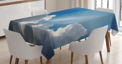 Mavi Gökyüzü Manzaralı Masa Örtüsü Bulutlar Beyaz