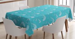 Okyanus Dalgaları Desenli Masa Örtüsü Mavi Şık
