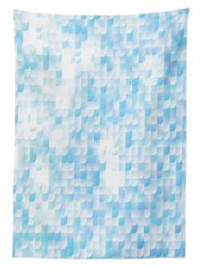 Mozaik Desenli Masa Örtüsü Mavi Beyaz Çeyizlik
