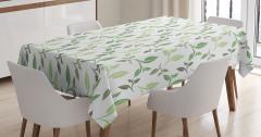 Çay Yaprakları Desenli Masa Örtüsü Yeşil Beyaz Şık