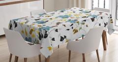 Rengarenk Masa Örtüsü Çiçek ve Yaprak Desenleri