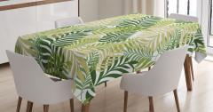 Palmiye Yaprakları Desenli Masa Örtüsü Yeşil Beyaz
