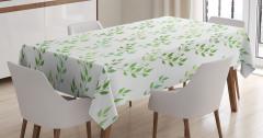 Beyaz Masa Örtüsü Yeşil Yaprak Desenleri Çeyizlik