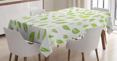 Beyaz Masa Örtüsü Yeşil Yaprak Desenleri Şık Tasarım