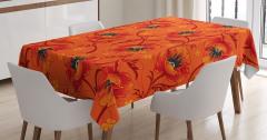 Turuncu Masa Örtüsü Romantik Çiçek Desenli Çeyizlik