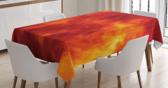 Turuncu Masa Örtüsü Ateş Temalı Modern Sanat Sarı