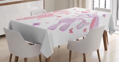 Çocuklar için Masa Örtüsü Tavşanlar ve Kelebekler