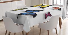 Rengarenk Kelebek Desenli Masa Örtüsü Sarı Turuncu