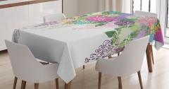 Rengarenk Çiçek Desenli Masa Örtüsü Yeşil Fon
