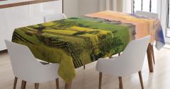Yaylada Gün Batımı Temalı Masa Örtüsü Yeşil Turuncu